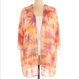 Kaileigh Orange Tropical Print Kimono